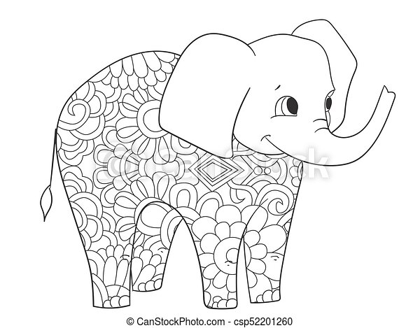 Elephant coloring vector for adults animal. Elephant coloring book ...