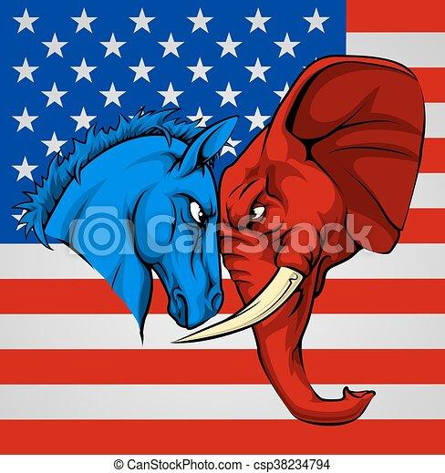 Elephant Donkey Democrat Republican Fight - csp38234794
