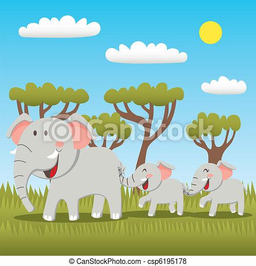 Elephant Family - csp6195178