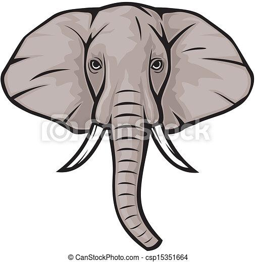 elephant head rh canstockphoto com Cute Elephant Clip Art Elephant Outline Clip Art