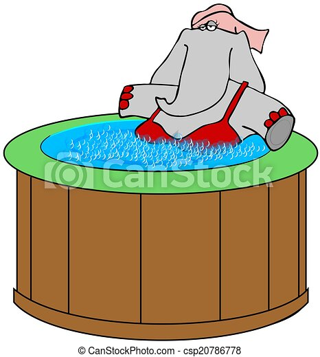 elephant in a hot tub this illustration depicts a female stock rh canstockphoto com