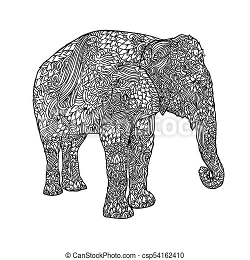 Elephant In Asian Style Mandala Pattern For Adult Coloring Book Vector Black And White