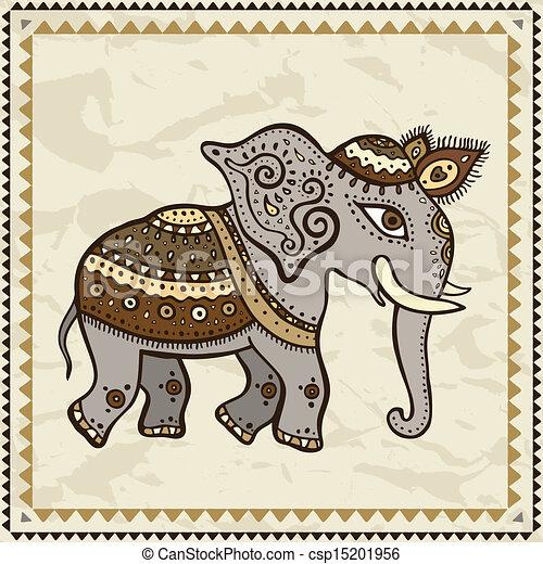 Elephant indien style ethnique chiffonn vecteur indien main arri re plan papier - Elephant indien dessin ...