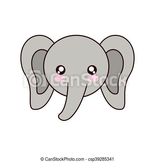 Pixel Art Elephant Kawaii