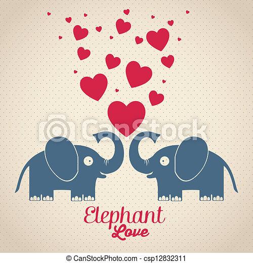 Illustration of cute animals. elephant love. vector ...