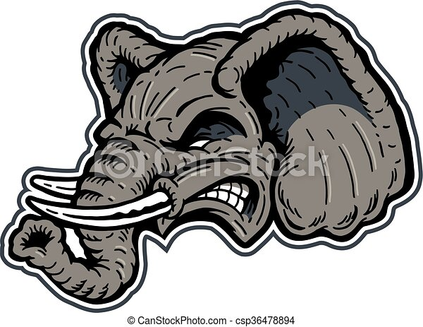 Mean elephant mascot head design for school, college or ...