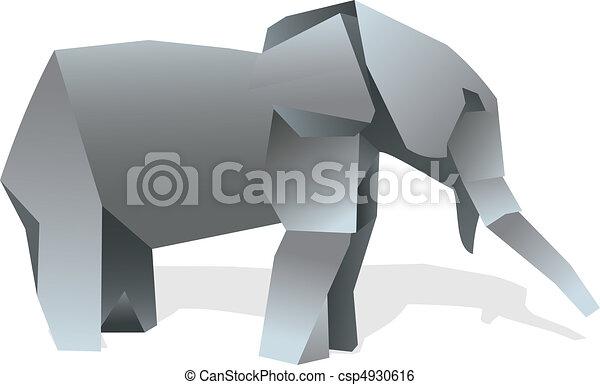 Elephant Origami Illustration One Elephant Origami Clip Art