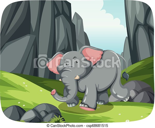 Elephant running in nature scene - csp68681515