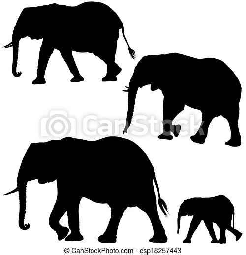 Elephant Silhouettes - csp18257443