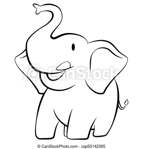 Elephant smiling cartoon character black and white csp50142365