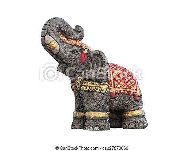 Elephant statue isolated on white b - csp27870060