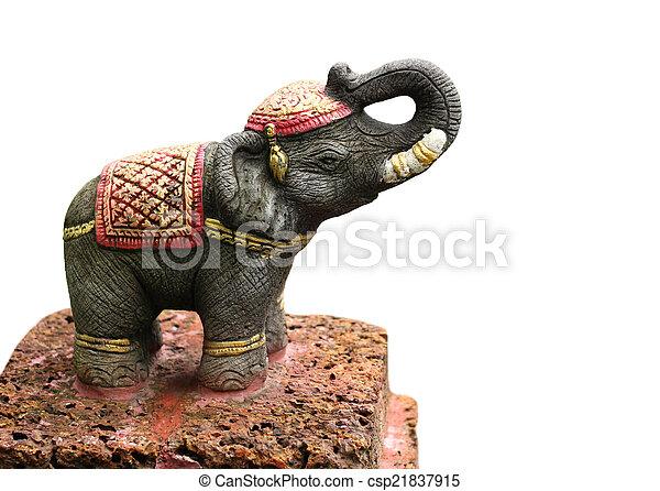 Elephant statue isolated on white background - csp21837915