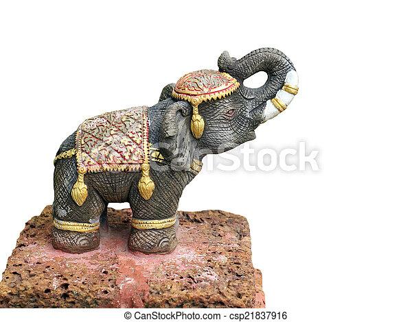 Elephant statue isolated on white background - csp21837916