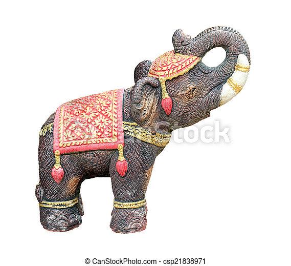 Elephant statue isolated on white background - csp21838971