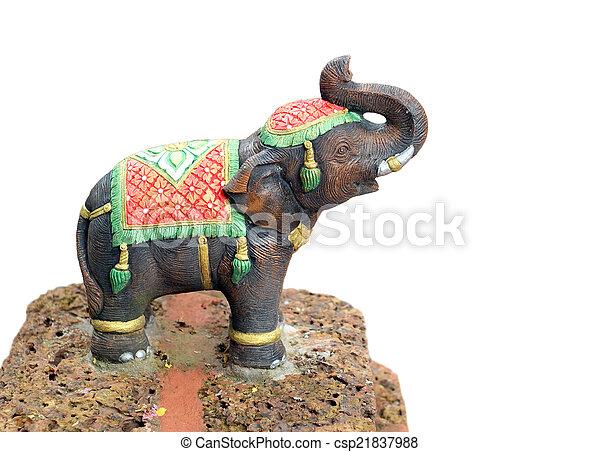 Elephant statue isolated on white background - csp21837988