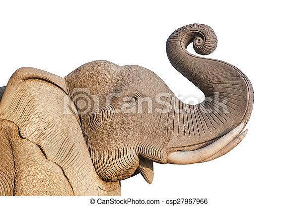 Elephant statue, Isolated on white background - csp27967966