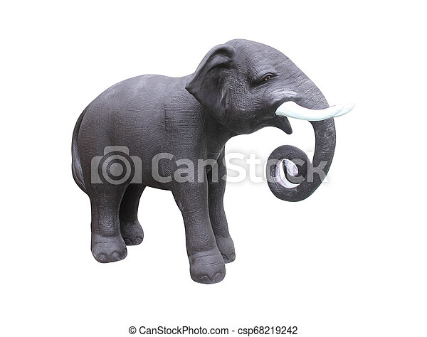 elephant statue isolated on white background ,with clipping path - csp68219242