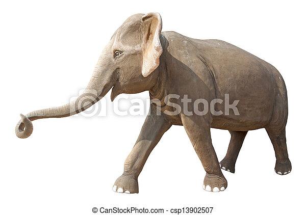 Elephant statue isolated on white - csp13902507
