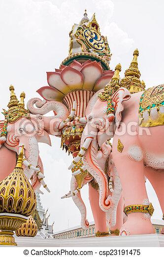 elephant statue near Wat Phra Kaew on white cloud - csp23191475