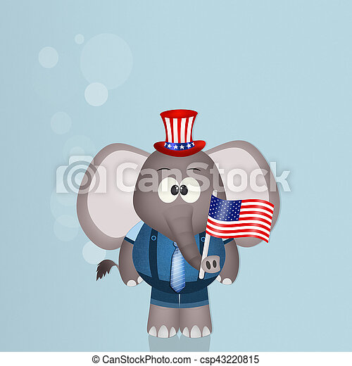 elephant with American flag for July 4th - csp43220815