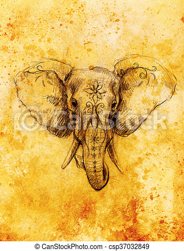 Elephant with floral ornament, pencil drawing on paper. Sepia color. - csp37032849