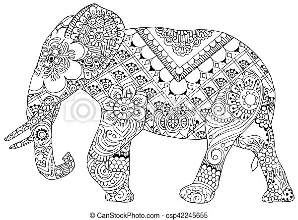 Elephant with indian patterns silhouette of an elephant painted ornaments in the style of mihendi - Elephant indien dessin ...