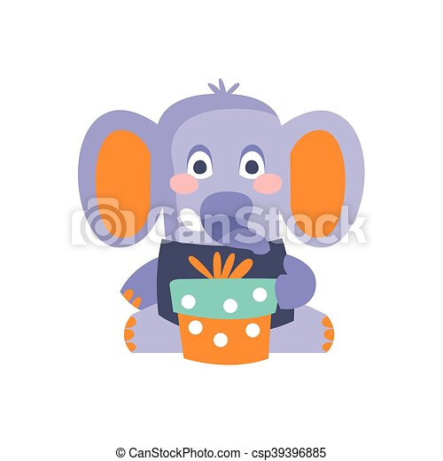 Elephant With Party Attributes Girly Stylized Funky Sticker - csp39396885