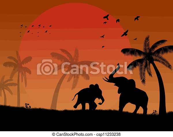 elephants and palms on beautiful place - csp11233238