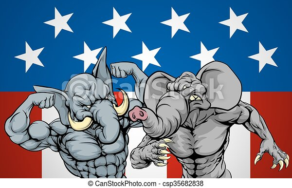 Elephants Fighting Concept - csp35682838