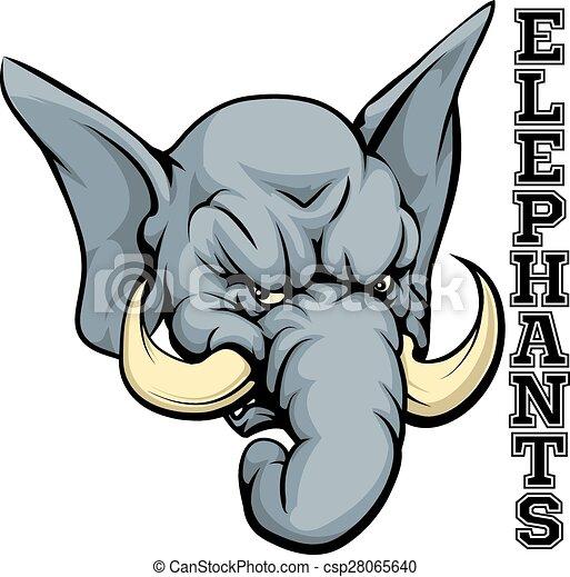 Elephants Mascot An Illustration Of A Cartoon Elephant Sports Team Mascot With The Text Elephants