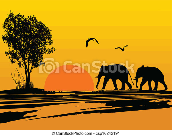 elephants silhouette in africa vector