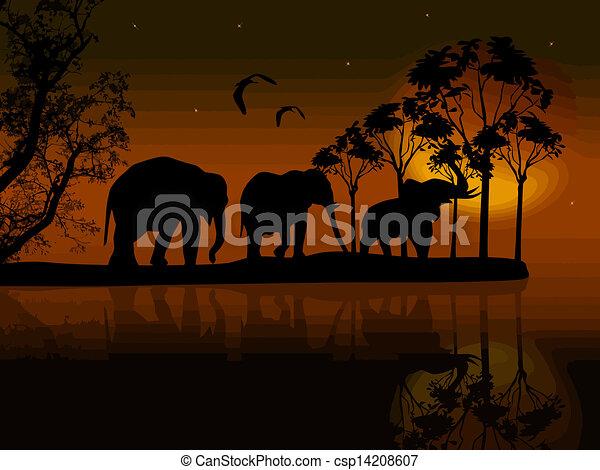 Elephants Silhouette In Africa Near Water
