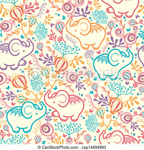 Elephants With Flowers Seamless Pattern Background - csp14494993