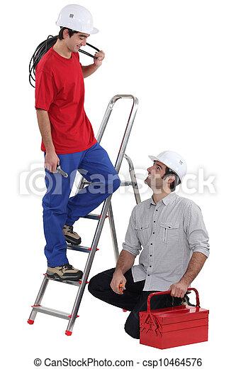 eletricistas, fundo branco, equipe - csp10464576