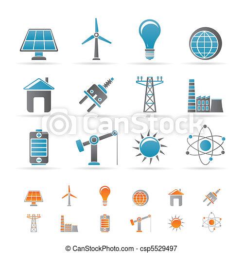 elettricità, energia, potere, icone - csp5529497