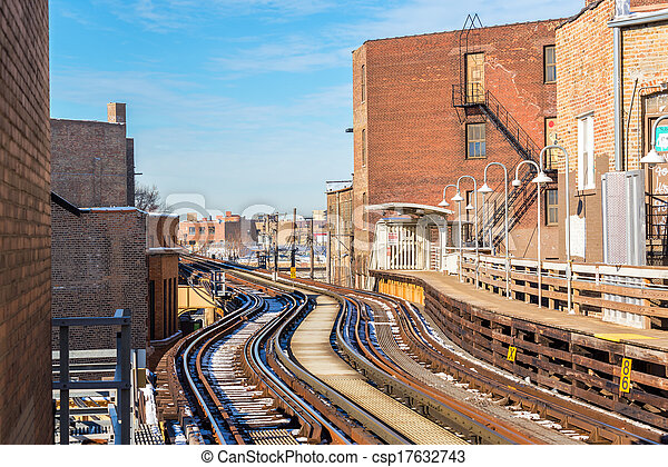 Elevated Tracks in Chicago - csp17632743