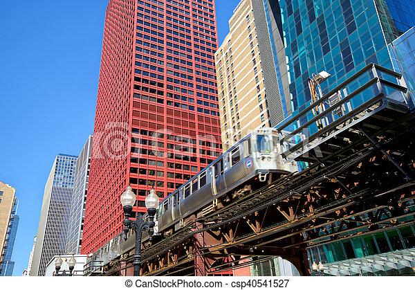 Elevated train in Chicago - csp40541527