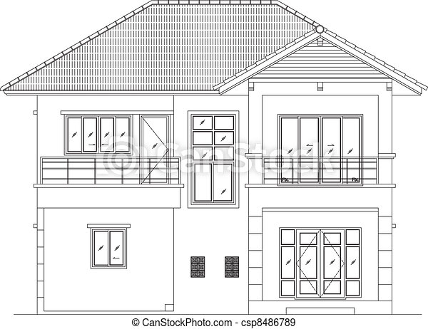 Elevation House Vector Elevation House Drawing Line Eps10