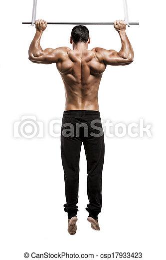 elevations, na, odizolowany, studio, tło, zrobienie, biały, człowiek mięśnia - csp17933423