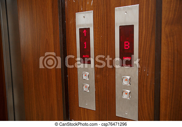 Elevator call buttons. selective focus, shallow depth of field - csp76471296