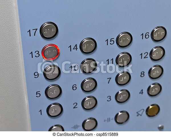 elevator control panel focus on the thirteenth floor button