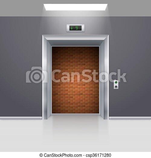Elevator Doors - csp36171280 & Elevator doors. Realistic elevator with open door with deadlock.