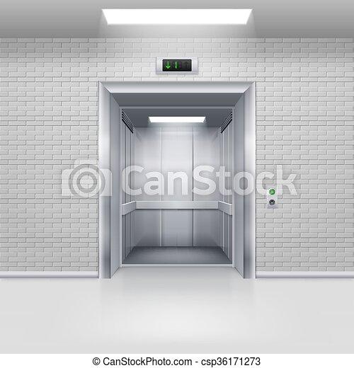 Elevator Doors - csp36171273 & Elevator doors. Realistic empty modern elevator with open door in a ...