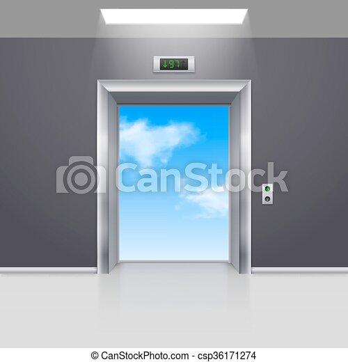 Elevator Doors - csp36171274 & Elevator doors. Realistic empty modern elevator to the blue sky.