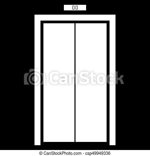 Elevator doors white color icon