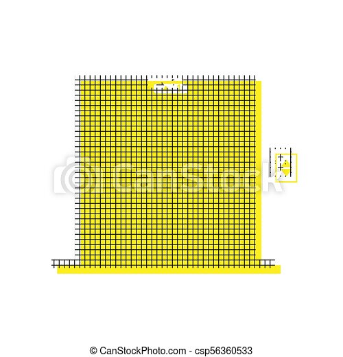 Elevators door sign. Vector. Yellow icon with square pattern dup - csp56360533