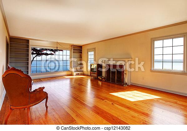 eleven, öreg, szoba, nagy, belső, fireplace., üres - csp12143082