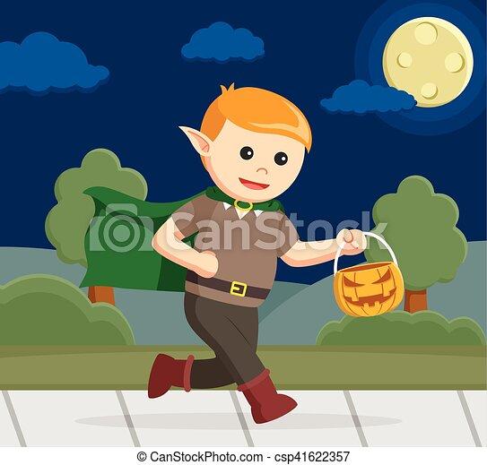 elf carrying pumpkin in halloween night - csp41622357