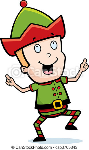 a happy cartoon christmas elf dancing and smiling vectors search rh canstockphoto com
