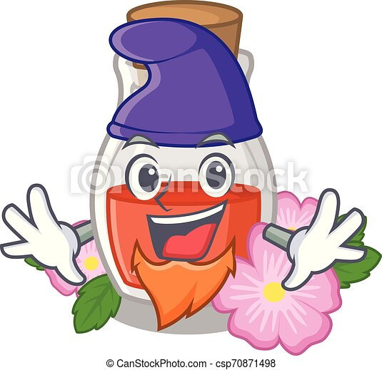 Elf rosehip seed oil in cartoon bottle - csp70871498